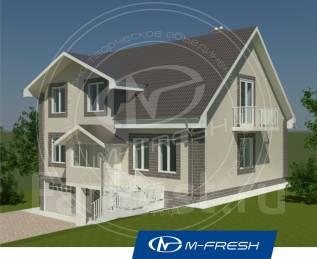 M-fresh Martini-зеркальный (Проект дома с фронтоном). 300-400 кв. м., 2 этажа, 6 комнат, кирпич