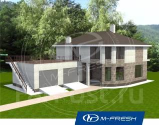 M-fresh Meridian (Проект дома с гаражом на 2 авто и камином). 200-300 кв. м., 2 этажа, 4 комнаты, дерево