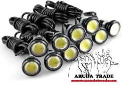 Точечные ходовые огни 10шт черный корпус (свет белые) - 23мм