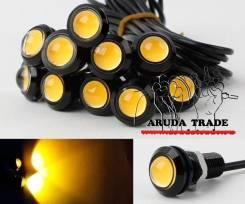 Точечные ходовые огни 10шт черный корпус (свет желтые) - 23мм