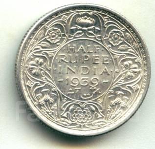 Индия 1/2 рупии 1939 George VI (Бомбей) Серебро