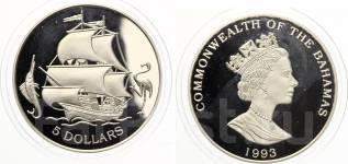 5 долларов 1993 год. Багамы. Парусник. серебро. Под заказ