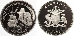 5 долларов 1995 год. Барбадос. серебро. Парусник. Под заказ