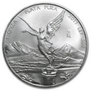 Монета. Мексика 2011. Либертадос, серебро, 1 унция (31 грамм серебра)