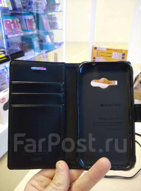 Кожаный чехол-книга с магнитной застежкой Mercury Goospery для Samsung Galaxy J1 2016 Черный