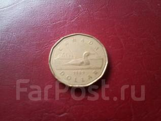Канада. 1 $ 1989 года. Фауна! Большая красивая монета!