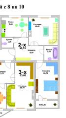 3-комнатная, ул. Панфиловцев 1. Индустриальный, агентство, 83 кв.м.