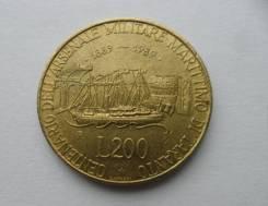 Италия 200 лир 1989 100 лет морской военной базе в Таранто