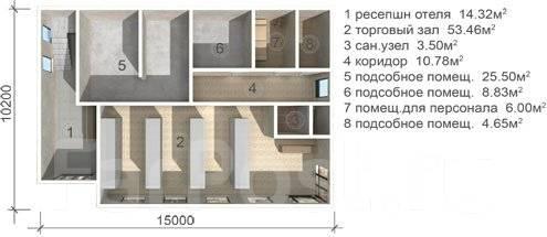 Проект гостиницы с минимаркетом. 300-400 кв. м., 2 этажа, 7 комнат, панели
