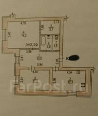 2-комнатная, улица Панфиловцев 36а. Индустриальный, частное лицо, 64 кв.м. План квартиры