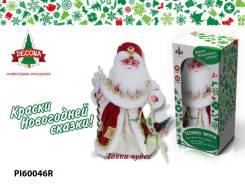 Кукла Дед мороз с посохом в красном