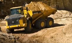 John Deere. Карьерный самосвал (грузовик) с шарнирно-сочлененной рамой, 2 500куб. см., 37 266кг.