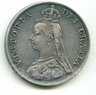 Англия двойной флорин 1887 (арабский) Серебро