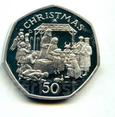 "О. Мэн 50 пенсов 1991 ""Рождество"" Серебро"