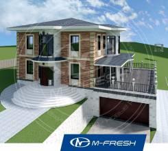 M-fresh Michael-Jackson (Проект дома для участка с перепадом высот! ). 400-500 кв. м., 3 этажа, 6 комнат, кирпич