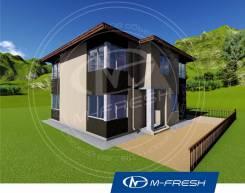 M-fresh Fiiiiieee-esta! (Проект дома с террасой, угловой витраж). 200-300 кв. м., 2 этажа, 6 комнат, бетон
