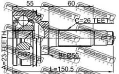 Шрус подвески. Toyota Corolla, EE100, AE100, CE100 Toyota Starlet, EP91, EP82 Двигатель 4EFTE