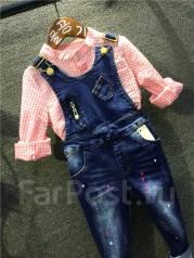 Комбинезоны джинсовые. Рост: 86-98, 98-104, 104-110 см
