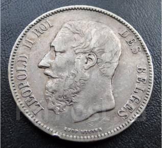 5 франков. Бельгия.1870г. Оригинал. Серебро. XF.