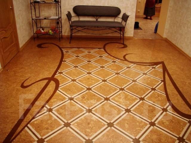 Укладка ламината паркета ПВХ плитки фанеры ремонт полов тёплый пол МДФ