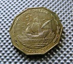 *558, Белиз 1 доллар 2007, (Корабли, парусники, флот)UNC
