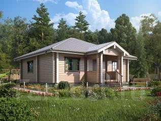 Проект дома из бруса 96 кв. м. до 100 кв. м., 1 этаж, 4 комнаты, дерево