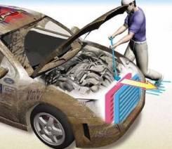 Продувка радиатора компрессором без снятия.