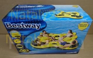Надувной плот шезлонг для отдыха на воде для четверых с термосумкой. Под заказ