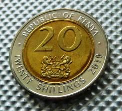 *528, Кения 20 шиллингов 2010, (Президент/биметалл)UNC