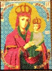 """Большая Икона ручной работы из бисера """"Пресвятая Богородица"""" В Рамке"""