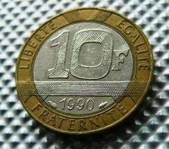 *165. Франция 10 франков 1990. (биметалл)