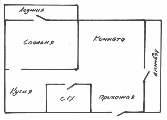 2-комнатная, улица Аллилуева 12а. Третья рабочая, 60 кв.м. План квартиры