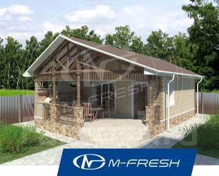 M-fresh Sigma (Проект уютной бани с накрытой террасой! ). до 100 кв. м., 1 этаж, 1 комната, бетон