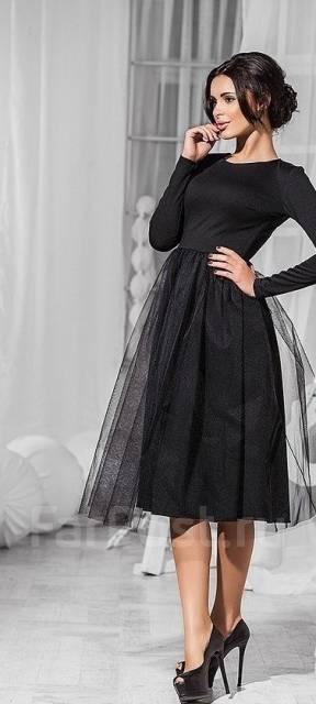 Вечернее платье-миди с фатиновой юбочкой от салона