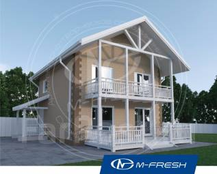 M-fresh Panama (Проект маленького дома с террасой и балконом! ). 100-200 кв. м., 2 этажа, 3 комнаты, бетон