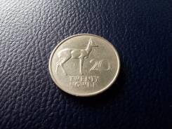 Замбия. Редкие 20 нгве 1968 года. Фауна! Большая красивая монета!