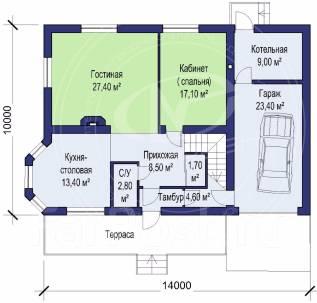 M-fresh Window Magic Mega! (Проект дома с увеличенной площадью). 200-300 кв. м., 2 этажа, 5 комнат, бетон
