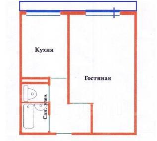 1-комнатная, улица Ладыгина 9/1. 64, 71 микрорайоны, агентство, 36 кв.м. План квартиры