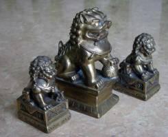 Фигурки львов на постаментах, бронза. Оригинал
