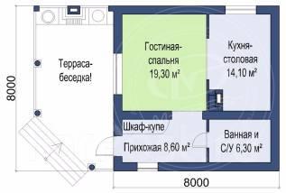 M-fresh Sigma Maximum! (Проект небольшого уютного дома 8 х 8 м). до 100 кв. м., 1 этаж, 1 комната, кирпич