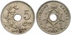 Старая Бельгия 5 сантимов 1921 года (иностранные монеты)