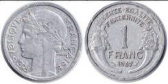 1 франк Франция 1947 г. (иностранные монеты)