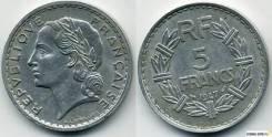 5 франков Франция 1947 (иностранные монеты)