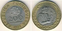 Португалия 200 эскудо 1991 (биметалл) (иностранные монеты)