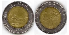 Италия 500 лир 1990 биметалл (иностранные монеты)