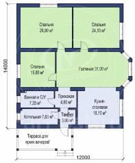 M-fresh Legend max (Проект современного 1-этажного дома. Посмотрите! ). 100-200 кв. м., 1 этаж, 4 комнаты, бетон