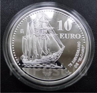 """10 евро.2003г. Испания. Парусник """"Элкан"""". Серебро. RARE. Proof."""