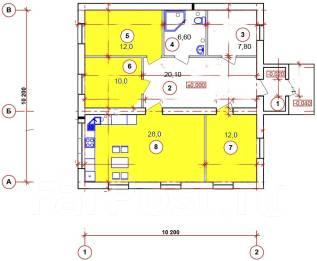 100м2 003-Z Экономный дом. до 100 кв. м., 1 этаж, 4 комнаты, бетон