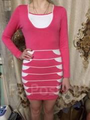 Шестянное трикотажное мини платье