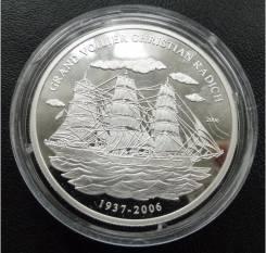 1000 франков.2006г. Конго. Парусник Кристиан Радич. Серебро. Proof.